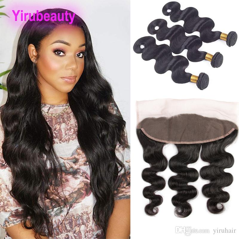 Brazilian Virgin Hair 13x4 Lace Frontal And Bundles Body Wave 4 Pieces/lot Human Hair Body Wave Hair Wefts With Closure
