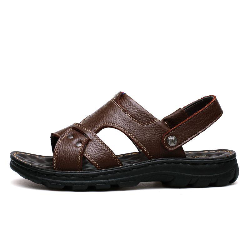 Calientes zapatillas de masaje Venta doble propósito diapositivas de cuero de vaca para hombre de doble uso ocasional de la manera zapatilla de masaje antideslizante Cowskin sandalias ZY309