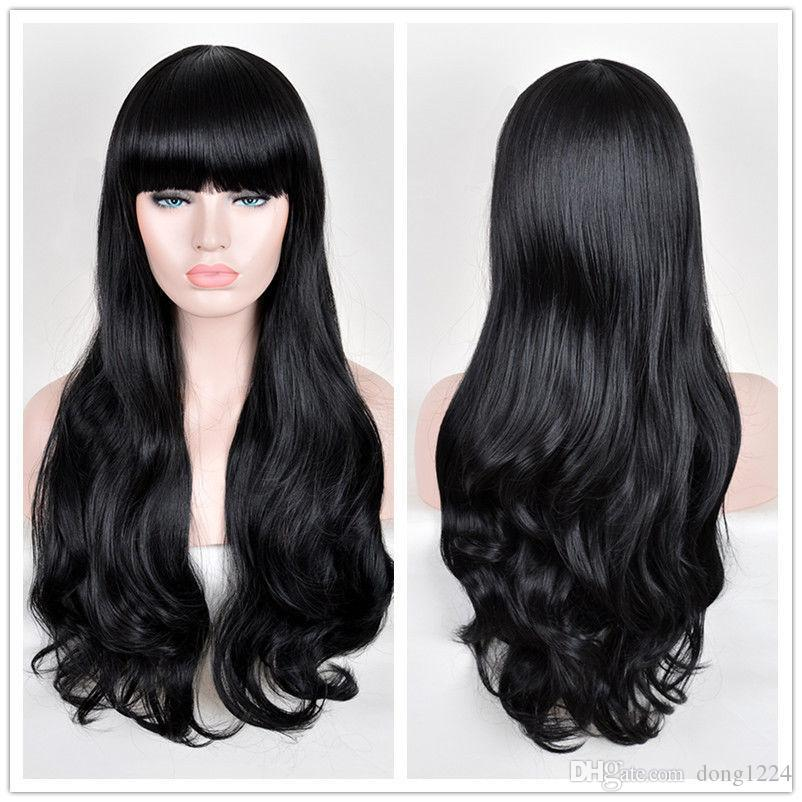 Women's Natural Black Wig Elegant Blunt Bangs Long Finger MERMAID hair Wigs