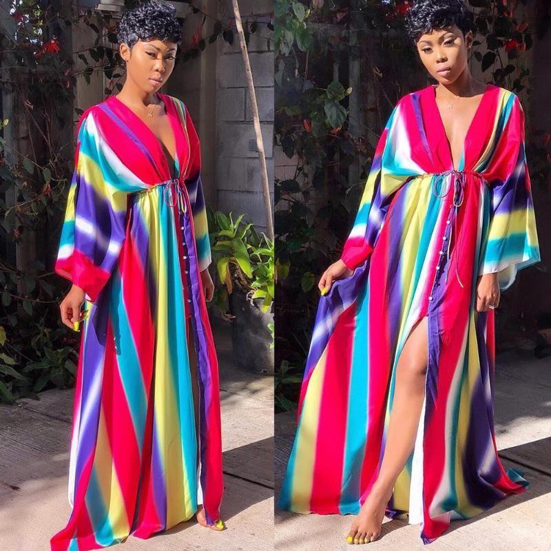 2019 nouvelle bande de couleur à manches longues des femmes africaines boutonné col v plage maxidress sexy robe longueur de plancher de Bohême G3596