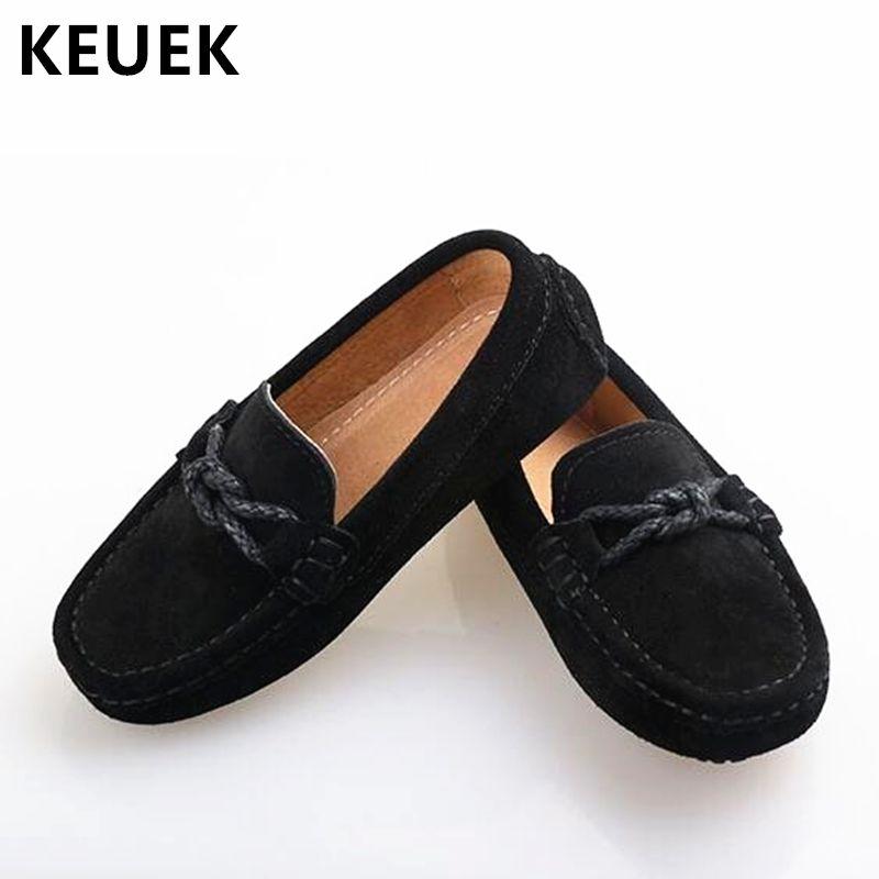 جديد جلد طبيعي أحذية الأطفال المتسكعون الاخفاف السوداء الطفل طفل الشقق بنين طالب الاطفال اللباس عارضة الأحذية 02