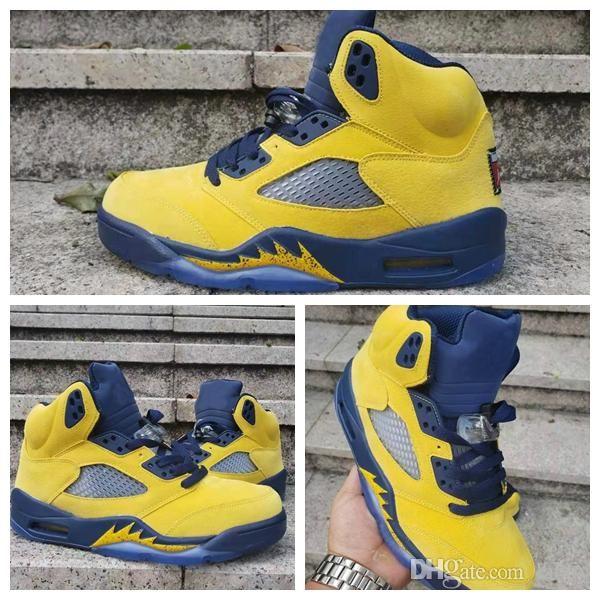 2019 Novo 5 V Mens Sapatos de Basquete Azul Amarelo Formadores 5s Sneaker Esporte Desenhadores homem Chaussures cesta bola jumpman Cestas Zapatos