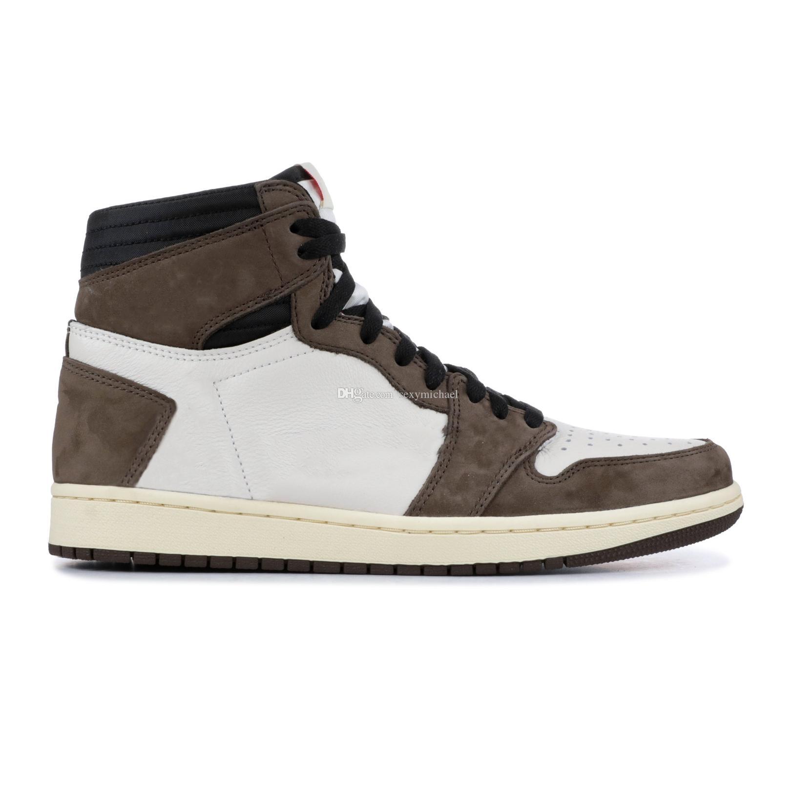 1s Travis черного темного мокко дешевые 1 реверсивных Баскетбол обуви Женщина тренеры мужских Новые 2019 Кроссовок с коробкой