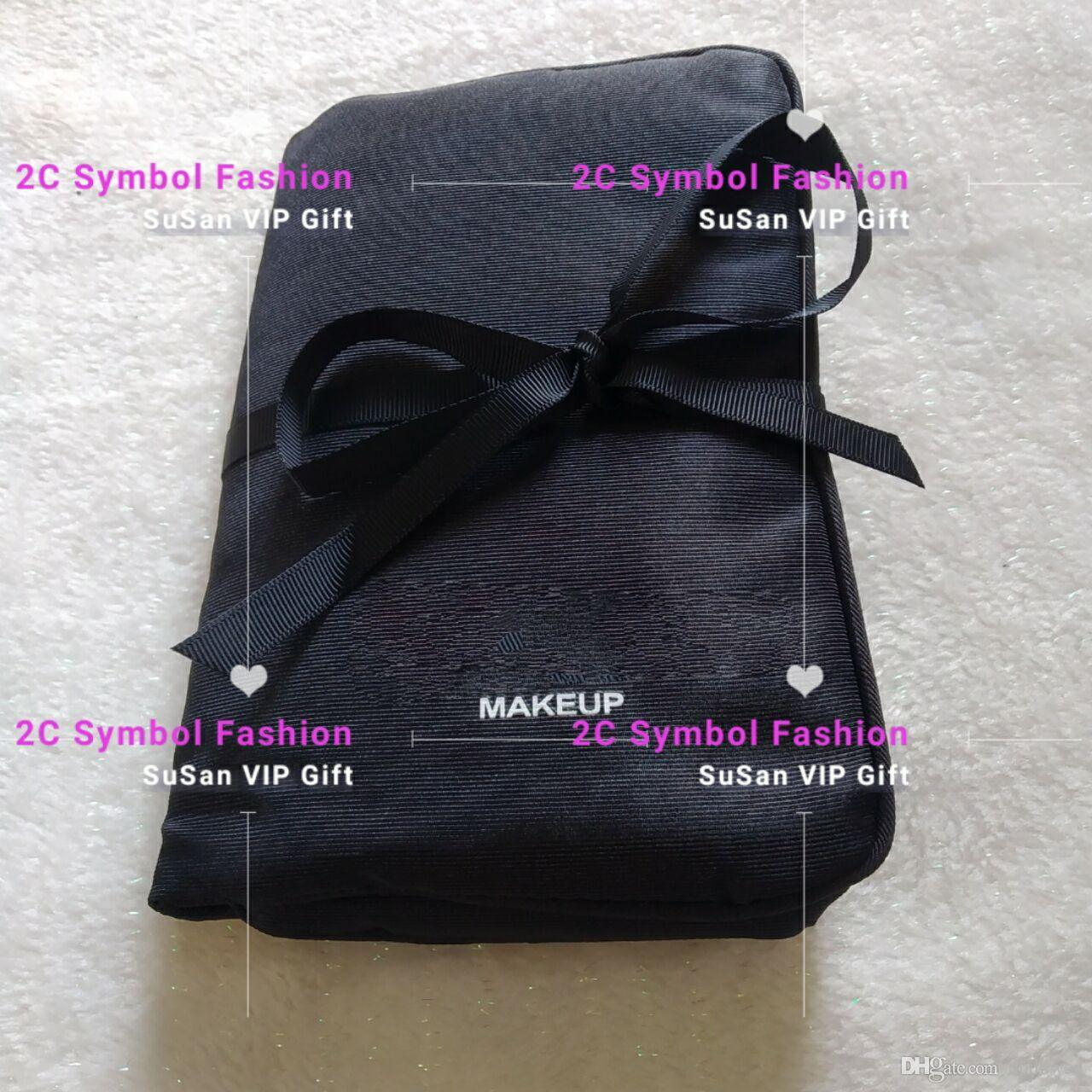 Nuevo ~ Bolsa de almacenamiento de moda con logotipo Estuche de cosméticos de seda 3 carpeta organizador de maquillaje maquillaje cepillo o barra de labios bolsa de almacenamiento