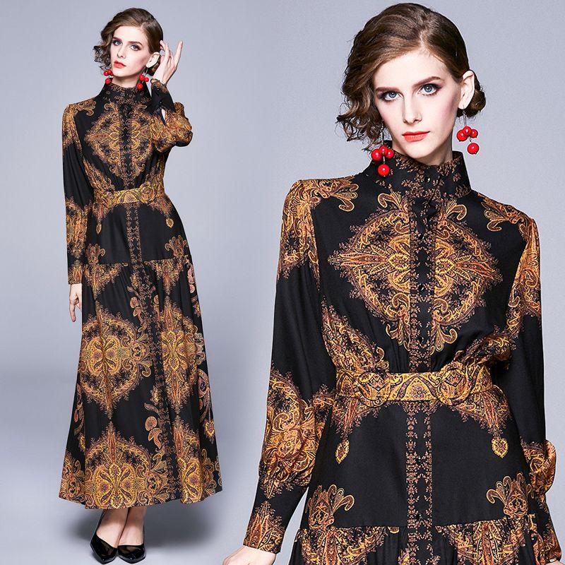 Luxury Series Elegant Dress New Design European Print Lantern Sleeve Maxi Party Wedding Guest Birthday Evening Women Dresses 3728