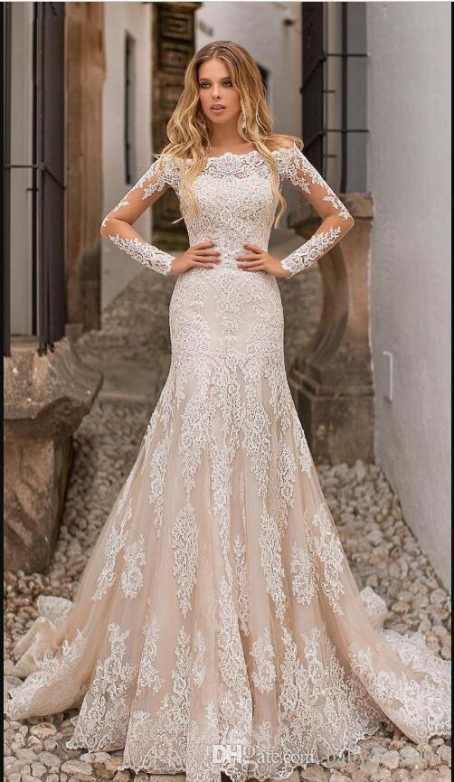 Robe de mariée Sirène 2019 Robes de mariée à Champagne Train détachable manches longues à l'épaule Moyen-Orient pleine dentelle pleine dentelle et taille de mariée