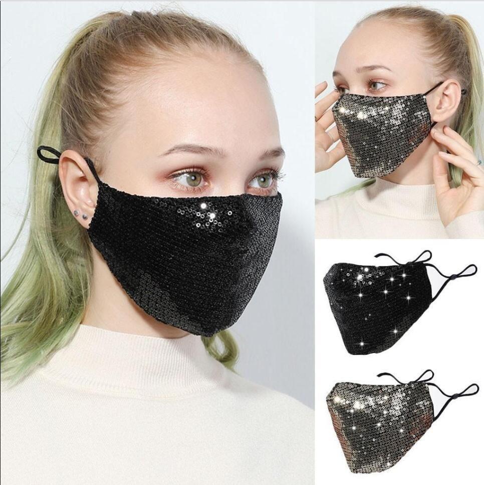 DHL Ship Fashion Sequins Protective Face Masks Black BlingBling PM2.5 Dustproof Mouth Cover Washable Reusble Cotton Face Masks FY9048