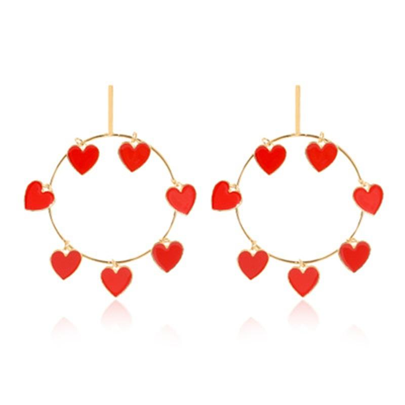 Corazón rojo Círculo cuelgan gota para el oído de la aleación del amor en forma de joyería de las borlas del goteo del aceite de los pendientes del aro de las mujeres de San Valentín 5 4yd H1