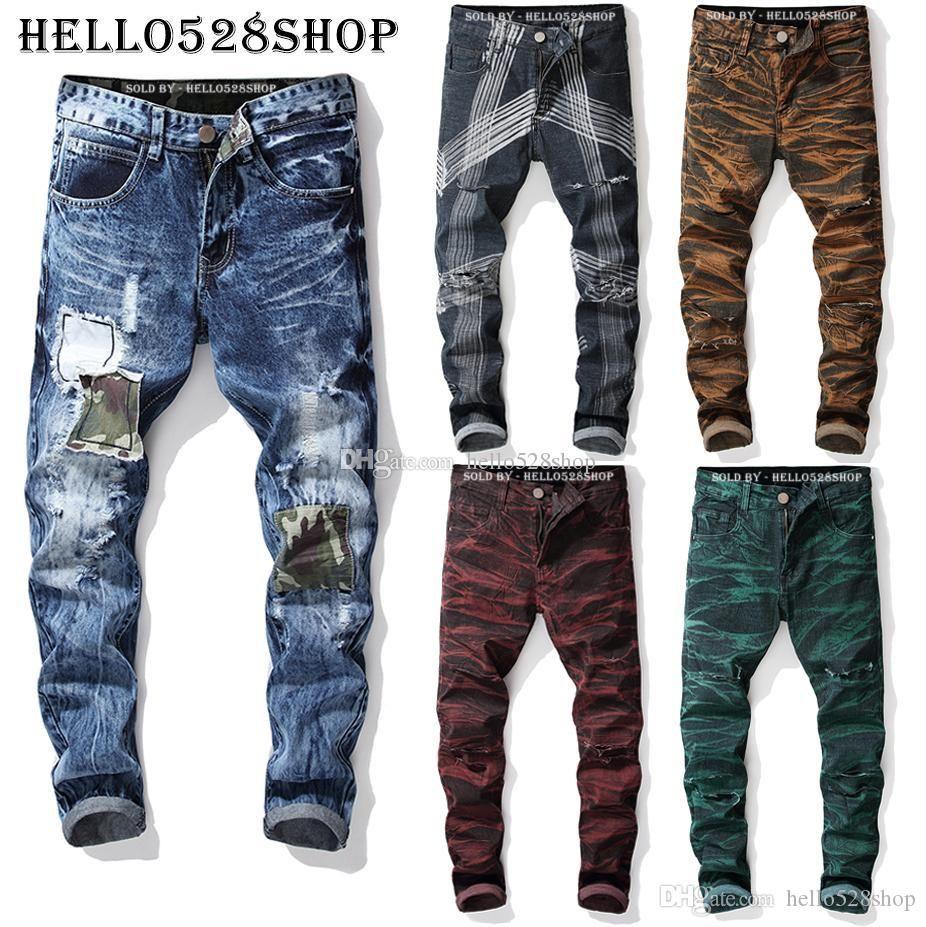 Mens Designer Jeans regular fit pantaloni lunghi - Plus Size Distrutto Magro Etero Ripped Denim Pantaloni uomo Homme