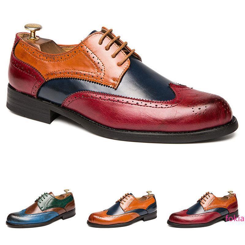 Большого размер мужской одежда кожаных ботинок вырезаны красочного размер бизнеса вскользь пром плоского качества комфортно свадьба хорошо 38-47 девять