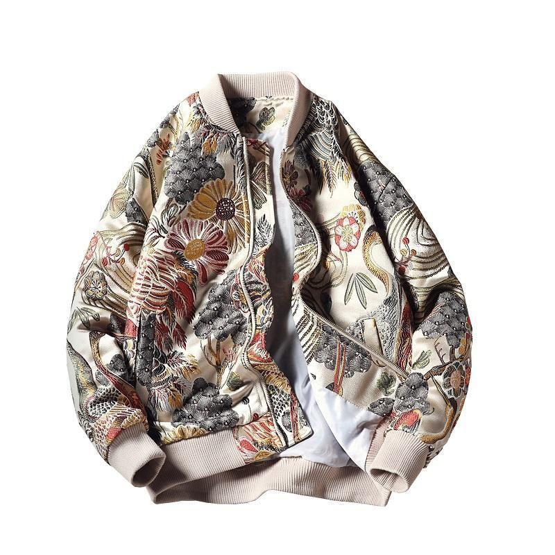 Nakış Erkekler Ceket Coat Man Hip Hop Streetwear Ceket Bombacı Ceket Erkek Giyim Sping Yokosuka High Street Coats Genç Boyut M-5XL
