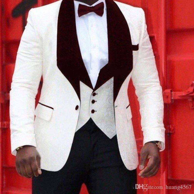 Nueva alta calidad de un botón Marfil Novio Tuxedos Shawl Vino solapa Padrinos de boda El mejor hombre se adapta para hombre Trajes de boda (chaqueta + pantalones + chaleco + corbata) 821