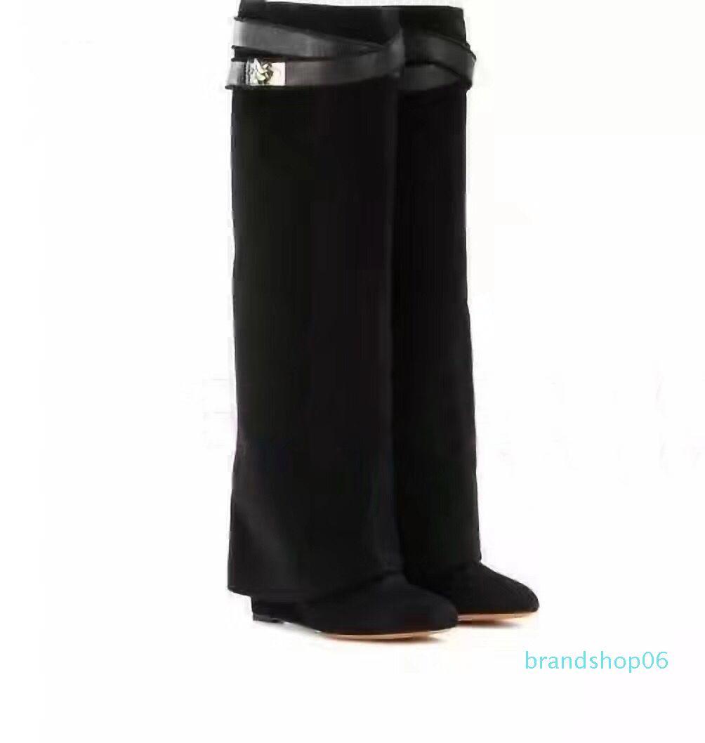 botas largas 100% Zapatos de señora piel de vaca mujer botas de tacón alto de los zapatos de diseñador de alta moda de cuero con cremallera desnudo botas de tamaño grande 35-42 41