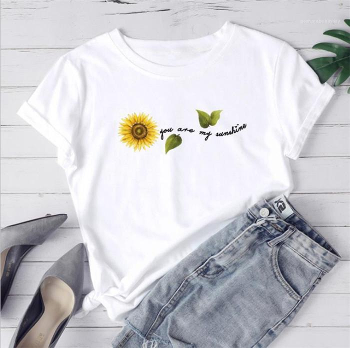 Neck Fashion Casual Clothes Womens Sunflower Letter Print Tshirt Summer Designer Letter Plus Size Tees Females Crew