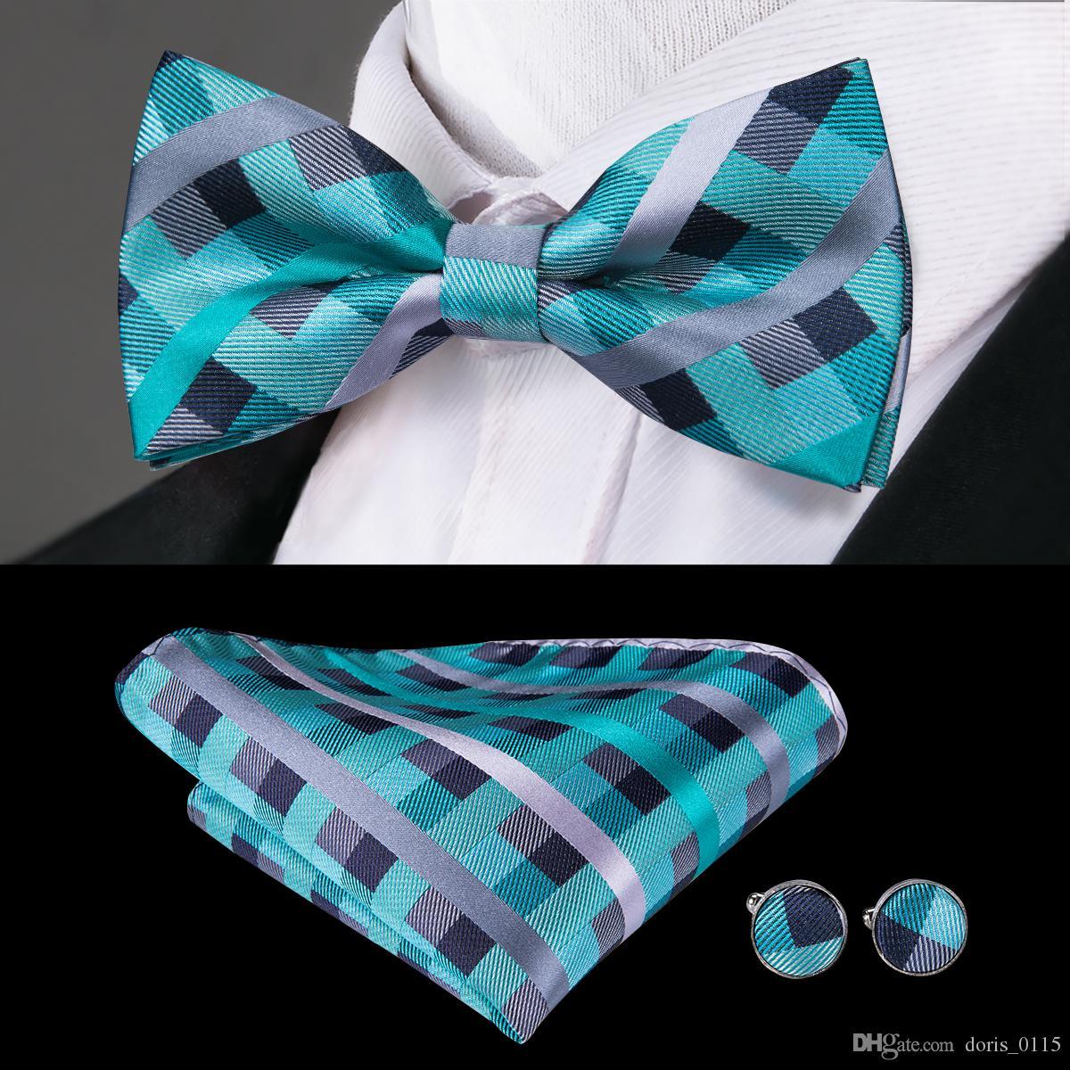Hi-Tie Classic Blue Plaid Tie Set 100% Silk Bow Ties With Handkerchief Cufflinks For Men Business Wedding Formal Suit LH-794