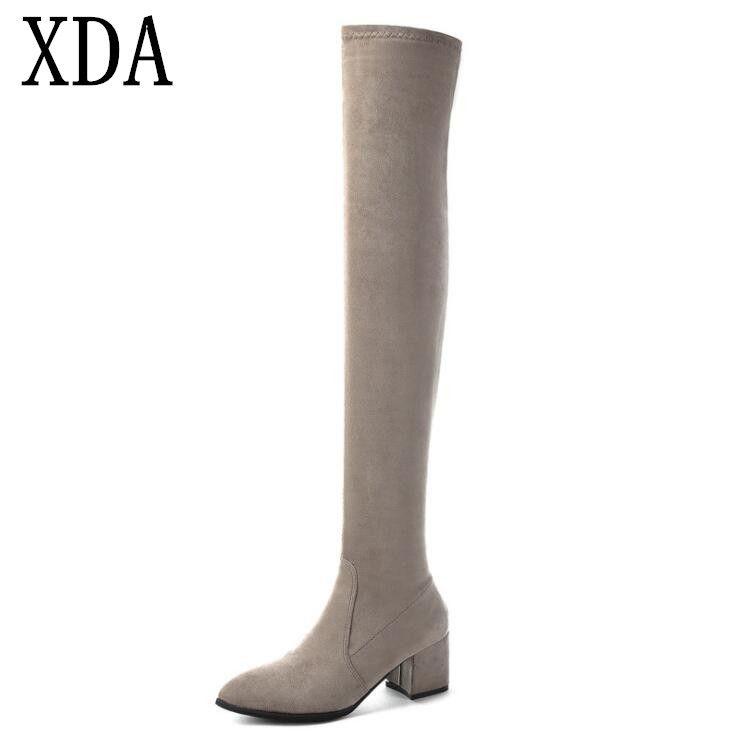 XDA тонкий эластичный длинные сапоги Сексуальная над коленом замши острым носом женщин сапоги женская мода зима бедро высокие сапоги Женская обувь
