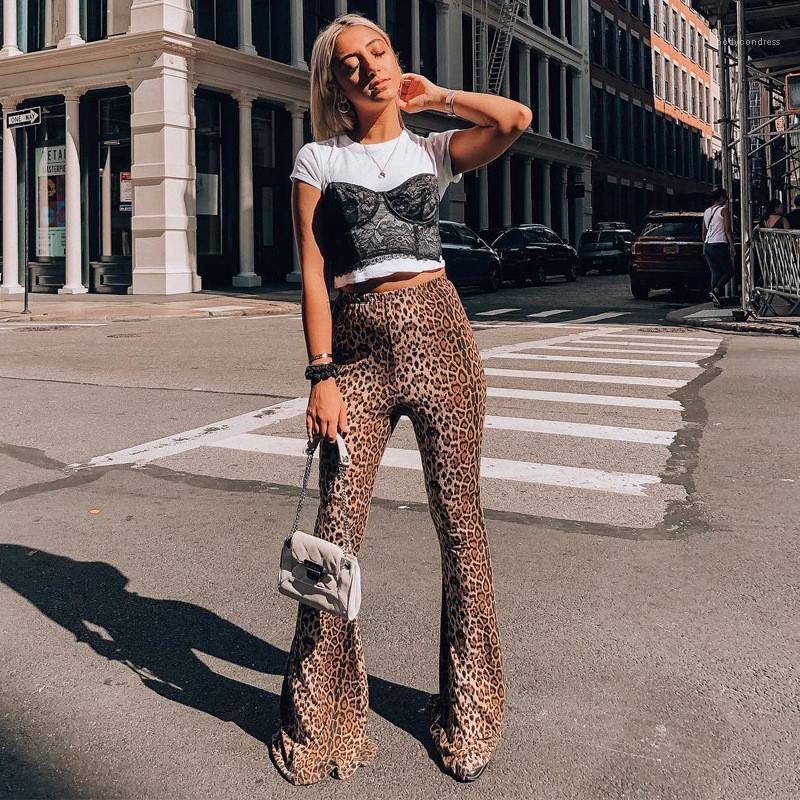 Getäfelten Hosen-beiläufige elastische Taillen-lange Hosen-Frauen Kleidung der Frauen Designer Leopard-Druck-Flare Pants Art und Weise gedruckte