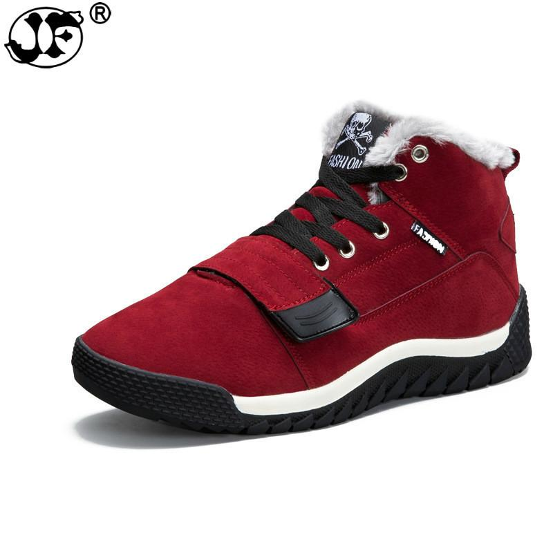 Men Winter Shoes Solid Color Snow Boots Keep Warm Waterproof Ski Boots Slip-on Ankle Lace Up Boots for Male Plus Size 39-45