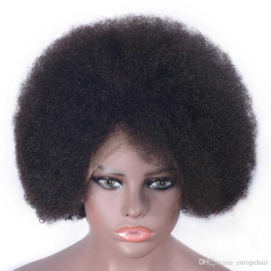 13x6 Afro Kinky Kıvırcık İnsan Saç Peruk Brezilyalı Remy Saç Dantel Ön Peruk Öncesi Bebek Saç Ile Kopul