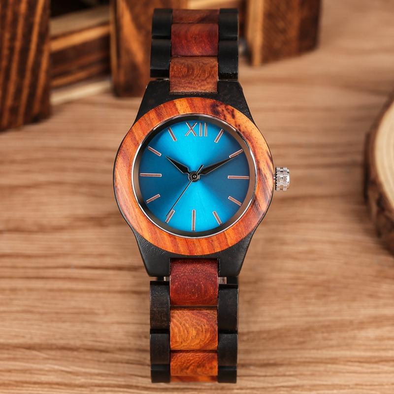 Único Sapphire Blue Face de madeira Relógios Handmade completa de madeira banda quartzo relógio das mulheres Relógios Senhoras vestido Relógio
