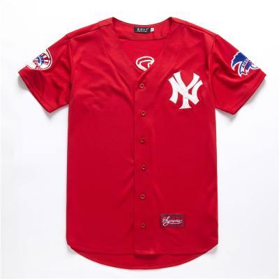 Respirável Hip-hop e senhora Atacado-Men americano Beisebol estilo solto Cardigan camisa bordada macio elástico e T-shirt Confortável