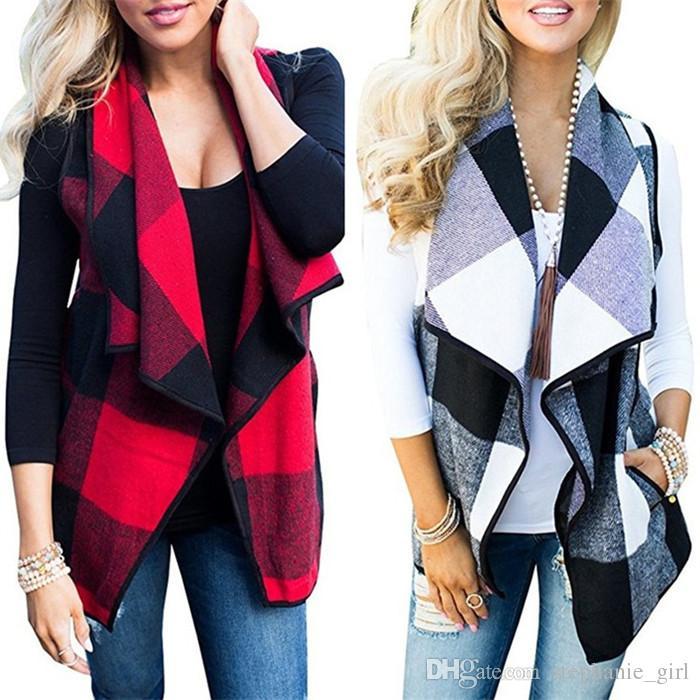 Women Lapel Plaid Cardigan Pocket Vest Coat Irregular Check Sleeveless Jacket Open Front Blouse Outwear Waistcoat 8 Colors