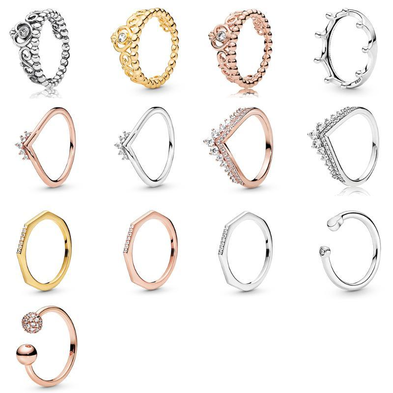 Women Silver Finger Ring Charms Snowflake Crown Rose Gold Silver Color Round Balls Ring For Women Party Birthday Jewelry