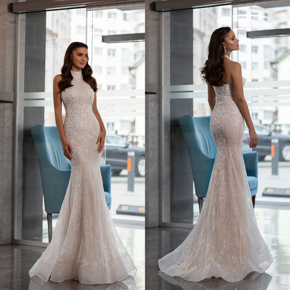 Oksana Mukha Brautkleider Neckholder Sleeveless geöffnetes zurück Brautkleid nach Maß SpitzeAppliques Sweep Zug Mermaid Brautkleid