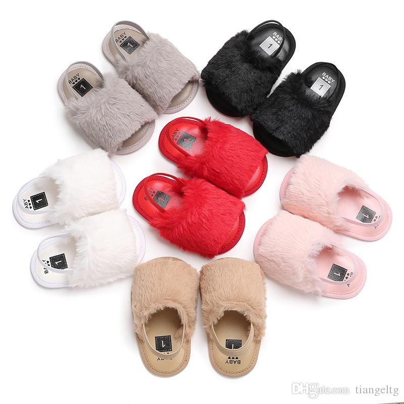 Pelle bambino Fur sandali del bambino dei pistoni di modo più elastica e flessibile fascia del silicone antiscivolo scarpe bambini pattini superiori Estate Shaggy Solid