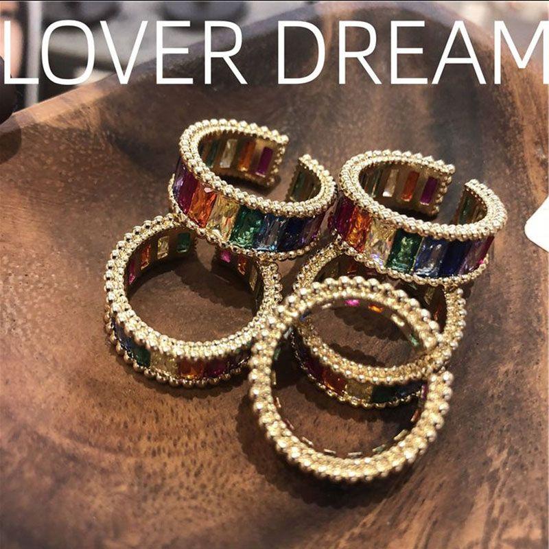 Las mujeres del estilo de la vendimia que abre los anillos de la personalidad de Hip Hop Party Girls anillo de la manera del Rhinestone colorido anillos de banda para Night Club