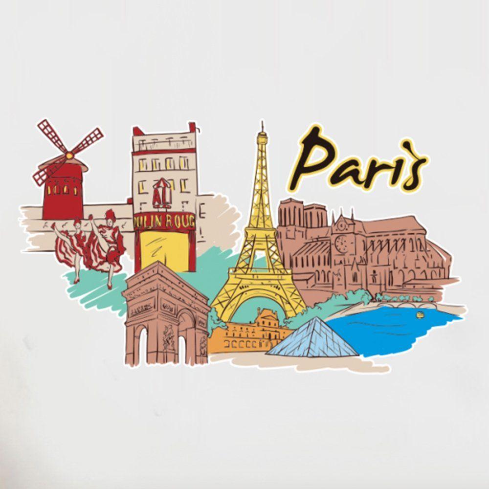 DIYthinker Paris Landmark Duvar Sticker Düğün Dekor Vinil Su Geçirmez Duvar PVC Sticker Duvar Kağıdı Çıkartması Çıkarılabilir