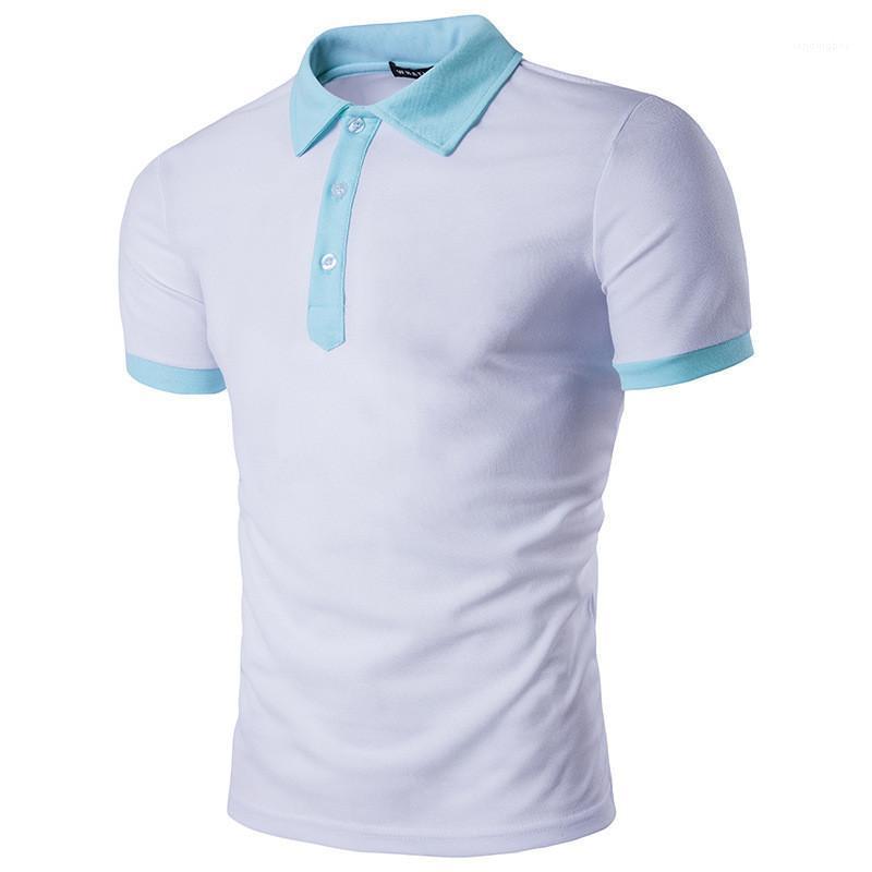 Herrenmode Designer Patchwork Herren Polos Solid Color Mode Polos Beiläufiges Revers Hals mit kurzen Ärmeln Polos