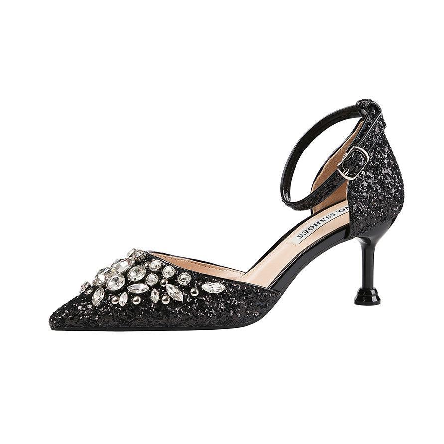 Sexy Großhandel 6.5cm PUMP zeigte flachen Mund Strass hohe Absätze Pailletten dünnen Wort mit Bankett Schuhe Sandalen Stiletto