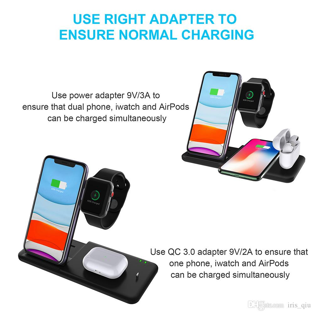 15W Fast Qi Wireless Charger For Iphone XS 8 11 Pro Max Wireless Charging Station For Apple Airpods Watch 5 4 3 2 1