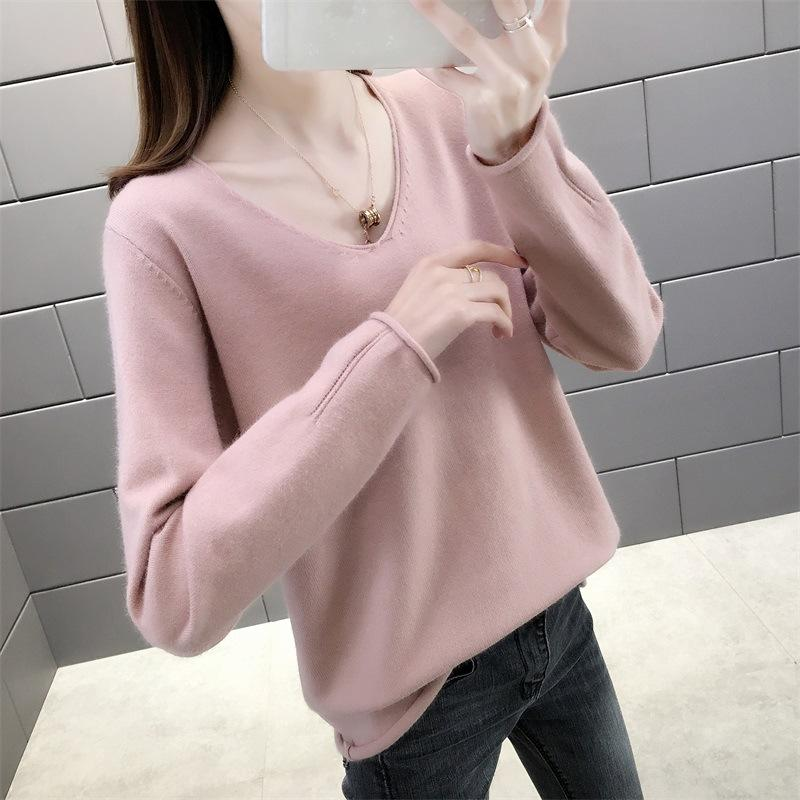 2020 бренд мода роскошный дизайнер женская одежда весна новый сплошной цвет удобные завитые V-образным вырезом свитер простой пуловер женский свитер