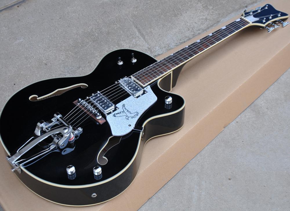 Frete grátis Semi-oca preta Cut-away Guitarra elétrica com Big Tremolo, Rosewood Fretboard, Três estilos disponíveis, pode ser personalizado