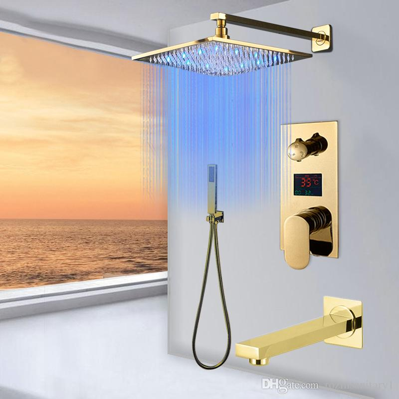 황금 광택 Digitail 디스플레이 목욕 샤워 수도꼭지 강우 LED 3 방법 욕실 수도꼭지 트리플 방법 LCD 믹서 밸브