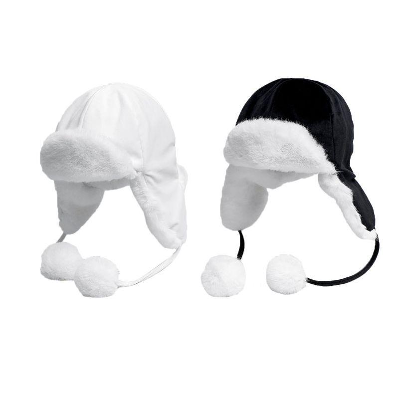 Ретро толстый плюшевый сплошной цвет Траппер с милым мехом мяч шляпа зимняя шапка лыжная теплая тенденция наушники плюс ветрозащитный Велоспорт