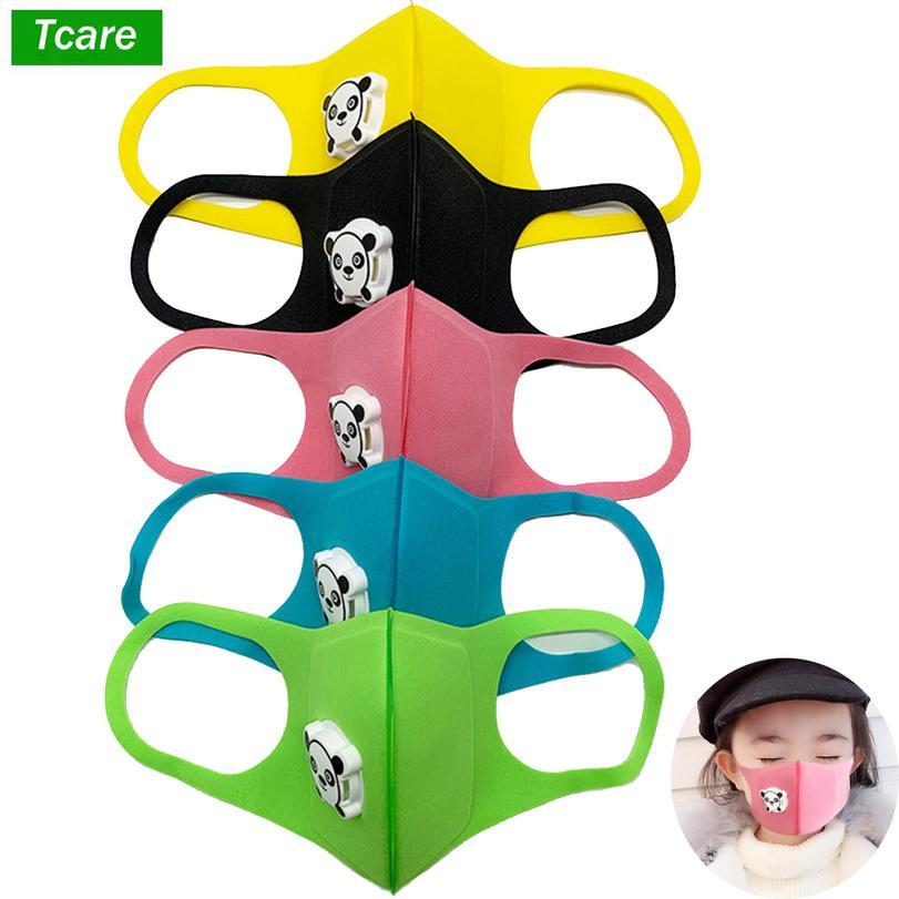 1pcs Boca Máscara niños de los niños espesa la cara de la esponja de la boca de la máscara del polvo anti contaminación PM2.5 equipo de respiración con la forma de la panda de la respiración VJJ