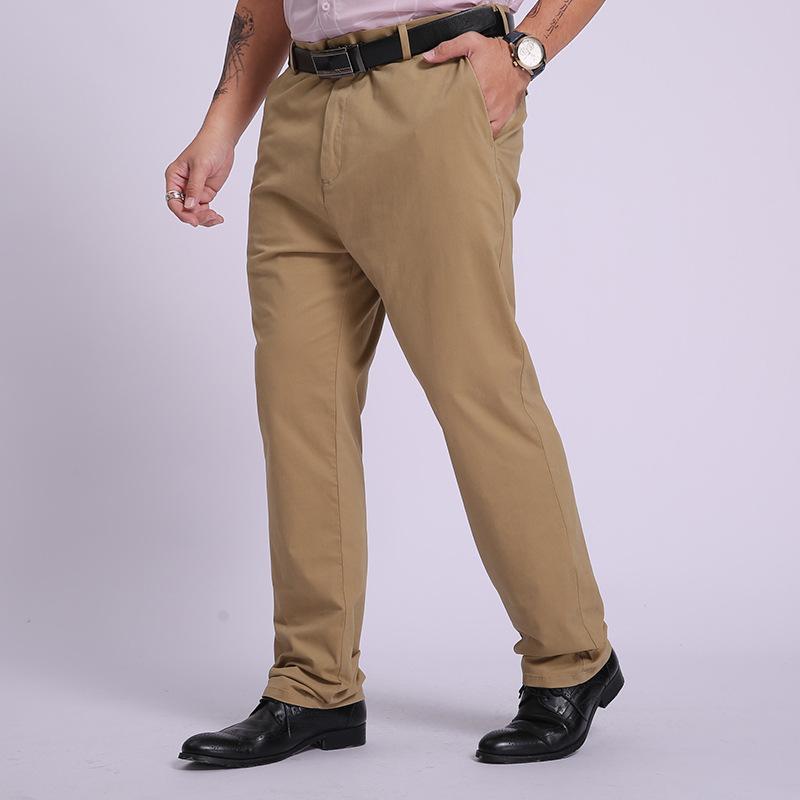 Compre 95 De Algodon Para Hombre Flojos Pantalones Rectos Pantalones Formales Para Los Hombres De Negocios De Vestir Mas El Tamano Clasico Traje De Oficina Pantalones De Color Caqui Negro A 32 09