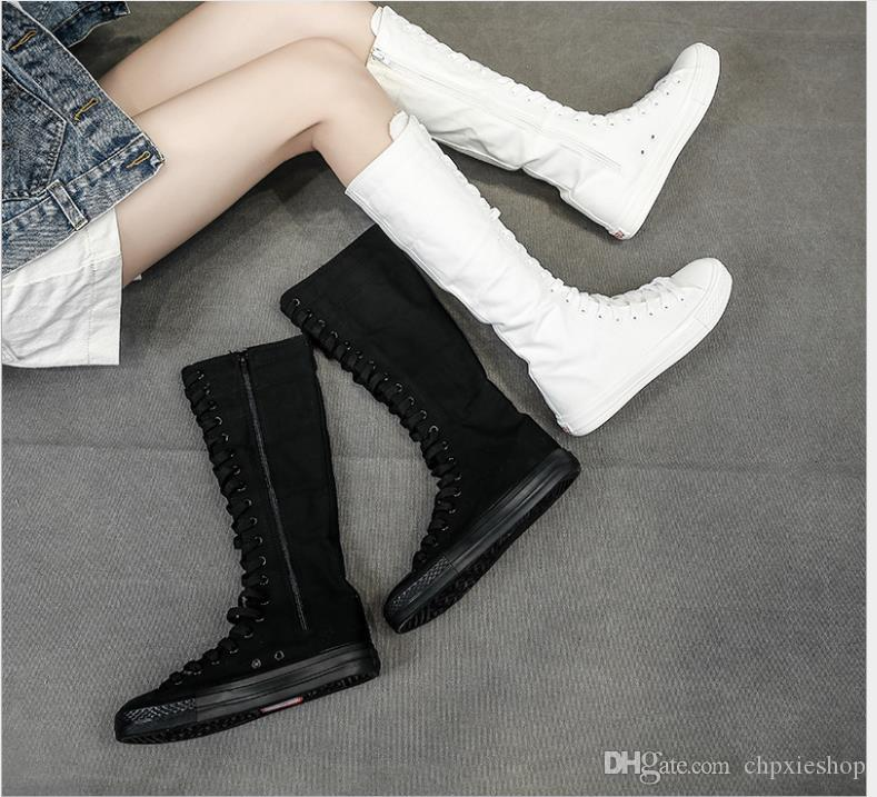 جديدة عالية أعلى ارتفاع أعلى أحذية قماش الأحذية الإناث سستة الطلاب الجانب طويلة