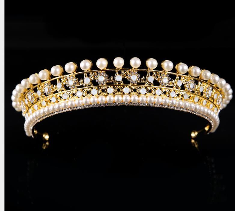 Nupcial ouro tiara de pérolas e prata strass coroa acessórios do casamento coroa coroa