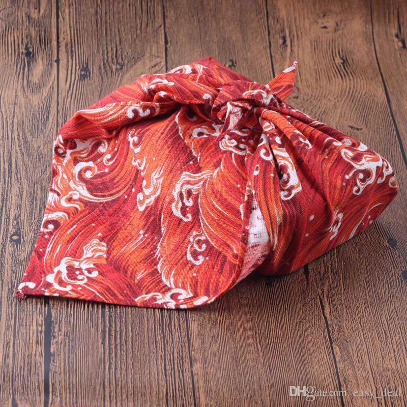 Tovaglia in cotone stile giapponese Furoshiki Giappone Tradizione classica Onde nuvole griglie stampate 52 cm / molti usi QW9785