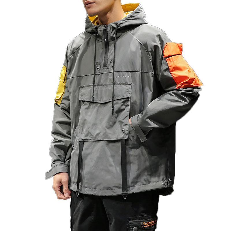 Bahar Hip Hop Kapşonlu Patchwork Erkek Ceket Kaban Erkek Kapüşonlular mont 2019 Erkekler Siyah Çift Streetwear Hoody ceketin bir M-5XL T5190617