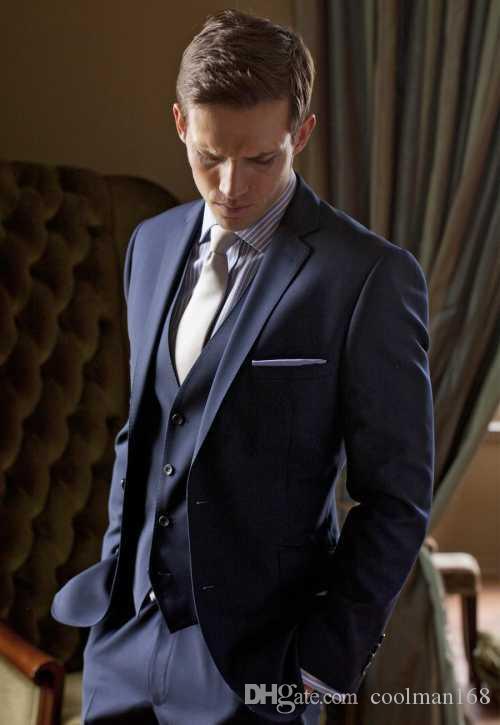 Slim Fit Blue Groom Tuxedos Notch Lapel Groomsmen Mens Wedding Dress Excellent Man Jacket Blazer 3 Piece Suit(Jacket+Pants+Vest+Tie) 83