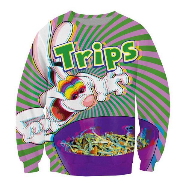 Mais recente moda Trippy vibrante Trix Coelho Psychedelic engraçado Impressão 3D camisola Jumper Mulheres Homens Roupas Hoodies Plus Size WY017