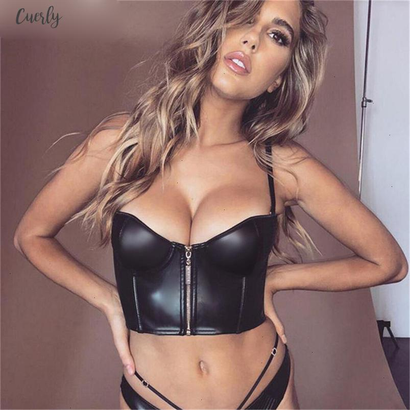 Black Pu Leather Zipper Camis Top 2020 Women Slim Cropped Top Fashion Sleeveless Party Sexy Camisole New Arrival