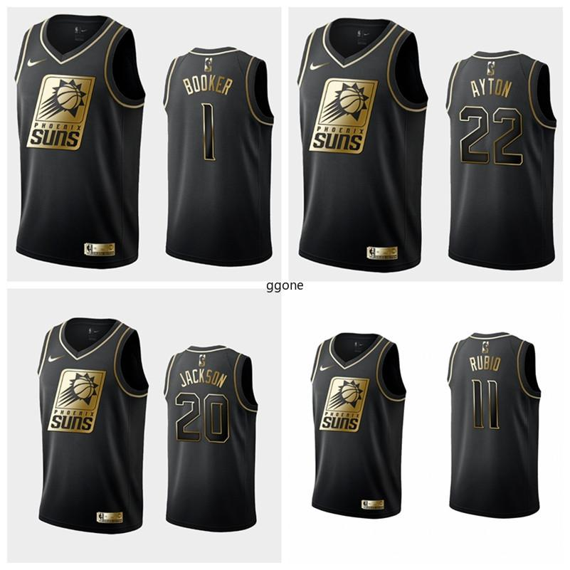 Top PhoenixSolesHombres Devin Booker DeAndre Ayton Negro Blanco Golden Edition baloncesto swingman Jersey