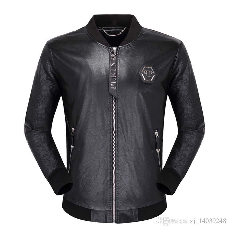 2019 Homens Locomotive Brasão Lazer Leather Jackets Zipper Casual Jacket Winter Fashion Top Homens Casacos Bordados Animais