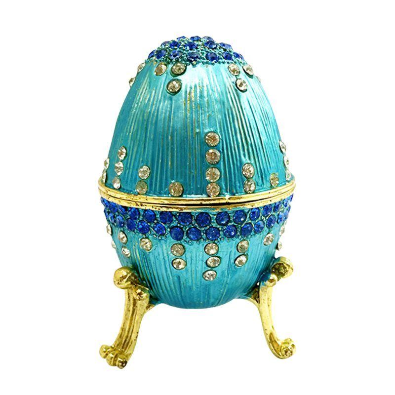 Blau Faberge-Ei-Handgemalte Schmuck Schmuckschachtel Geschenk für Ostern Home Decor